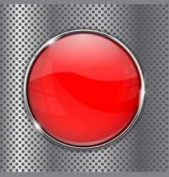Red glass button on metal perforated background vector