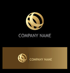 round sphere gold technology logo vector image
