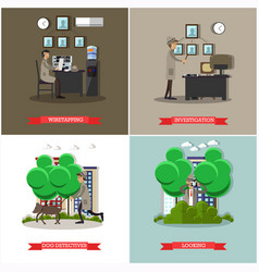 Set of investigation posters in flat style vector