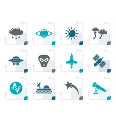 Stylized astronautics and space and universe icons vector