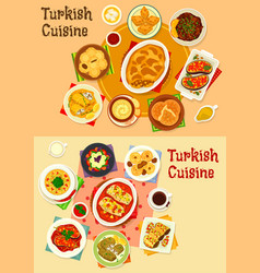 turkish cuisine dinner with delight icon set vector image vector image