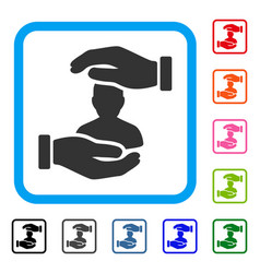 user care hands framed icon vector image