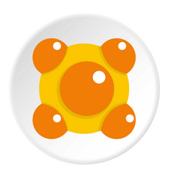 Yellow and orange molecules icon circle vector