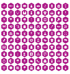 100 dress icons hexagon violet vector