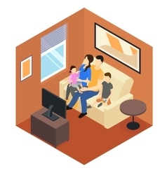 Family at home isometric design vector