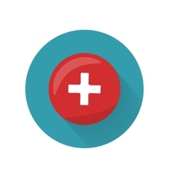 Red cross icon on button first medical aid sign vector