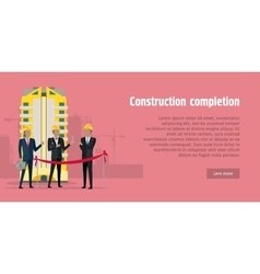 Construction completion building design web banner vector