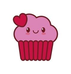 kawaii love cup cake heart valentine vector image