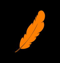 feather sign  orange icon on black vector image