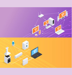 internet things isometric banners set vector image