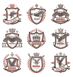 Vintage royal coats of arms set vector