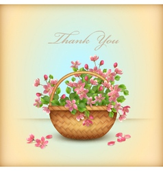 Spring wicker basket cherry flowers thank you card vector