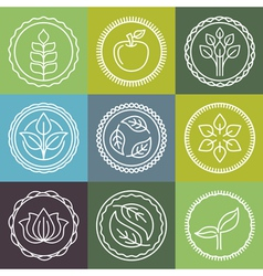 Organic logo outline set vector