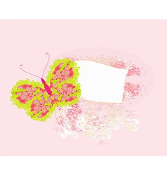 Floral frame with butterfly vector image