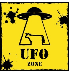 Ufo zone cow logo on yellow background vector