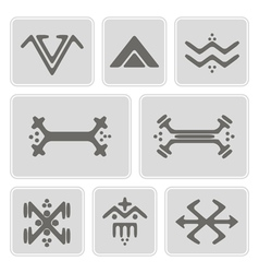 Icons with touareg tattoo symbols vector