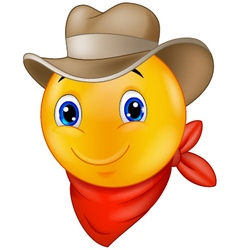 Cowboy smiley emoticon vector