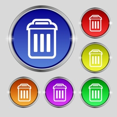 Trash icon sign round symbol on bright colourful vector
