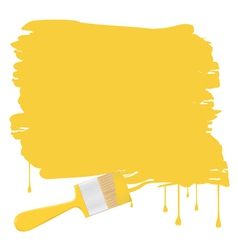 background with yellow paintbrush vector image