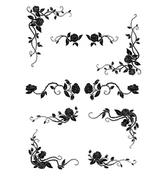 Floral borders with blooming rose flowers vector image