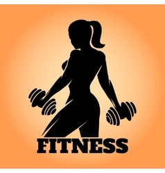 Fitness woman emblem vector