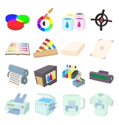 Printing icons set in cartoon style vector