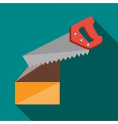Saw cuts log icon flat style vector