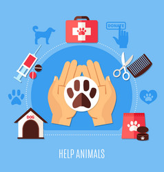 Animal protection volunteering composition vector