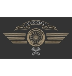 Auto Club emblem in vintage style vector image vector image