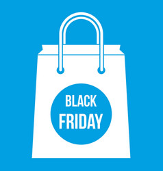 black friday shopping bag icon white vector image