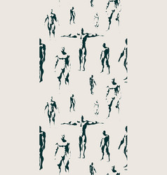 body building silhouettes seamless background vector image