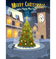Christmas tree on rink in old town vector image