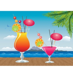 Cocktail on wood table2 vector image vector image
