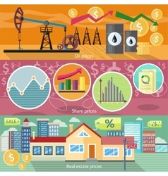 Concept of real estate price oil and shares vector