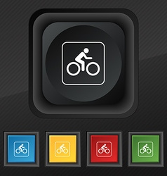 Cyclist icon symbol set of five colorful stylish vector