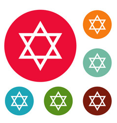 david star icons circle set vector image