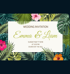 Exotic tropical jungle wedding event invitation vector