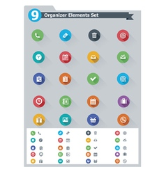 Flat organizer elements icon set vector image