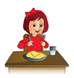 girl with food on table vector image
