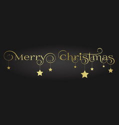 gold merry christmas lettering design with vector image