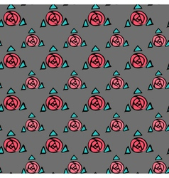 Grey seamless texture with pink roses vector