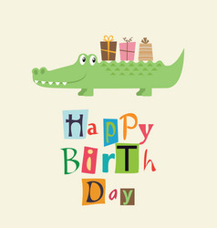 happy birthday card with fun crocodile vector image vector image