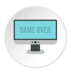 Monitor with word game over icon circle vector