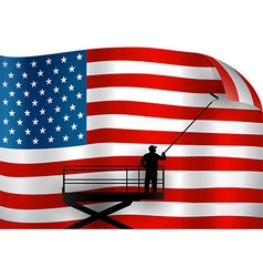 Putting up American Flag vector image