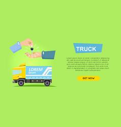 Renting truck online car sale web banner vector