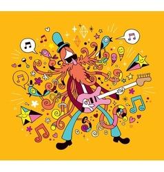 Rock guitarist cartoon vector