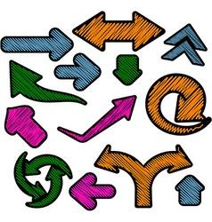 Scribbled color arrows set vector image