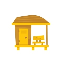Small wooden beach cabin with bench vector