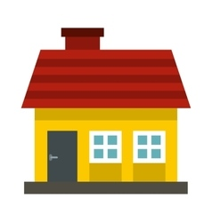 Small yellow cottage with red roof icon flat style vector image