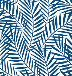 Tropical blue palm tree leaves in a seamless vector